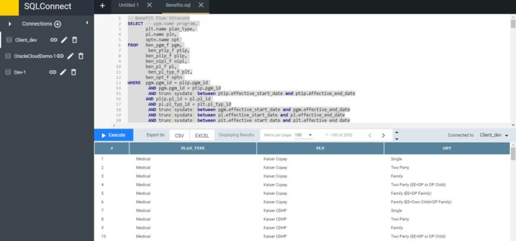 Adhoc Query in Oracle Cloud using SQLConnect from Oracle Cloud Tools